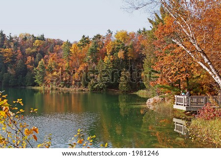 Lookout point at Pink Lake - stock photo