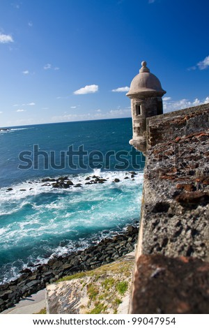 Lookout tower at El Morro Castle, San Juan, Puerto Rico - stock photo