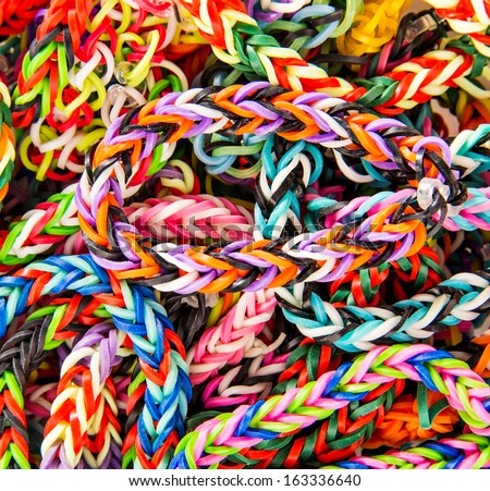 Loom bracelet. close up. Young fashion concept - stock photo