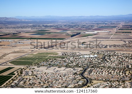 Loop 303 and Interstate 10 interchange construction viewed from above - stock photo