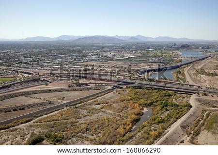 Loop 101 and Loop 202 interchange at the Salt River bottom - stock photo
