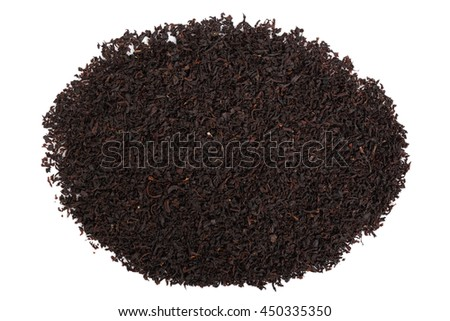 Loose dried black tea leaves. Isolated on white background. Directly Above.