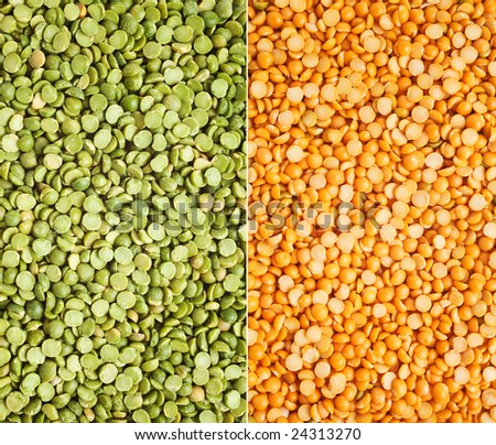 Loose green and yellow split peas - stock photo