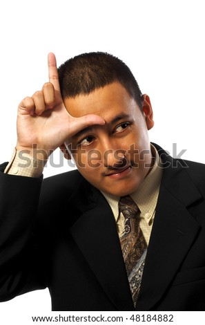 Looser businessman make L sign on his forehead isolated on white background
