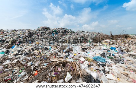 Lop Buri, THAILAND - August 27, 2016: The large landfill in town municipality, Lop buri  province.