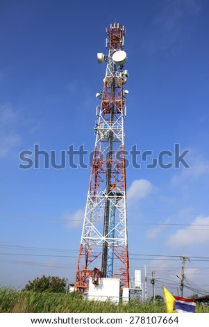 LOPBURI-THAILAND-FEBRUARY 23 : The telecommunication tower on the way on February 23. 2015 Lopburi Province. Thailand.