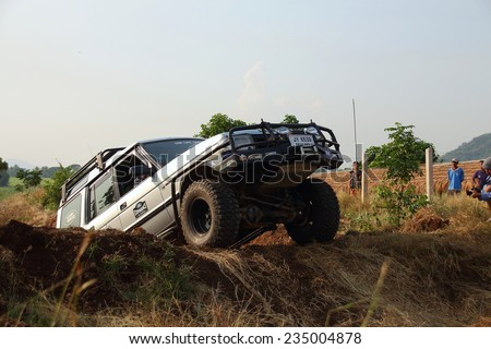 Lopburi,Thailand - November 29: Land Rover off road events, The aggregate annual rally of the Land Rover lovers in Thailand. on November 29, 2014, in Lopburi, Thailand.