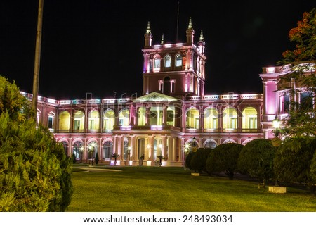 Lopez presidential palace at night in Asuncion, Paraguay capital. South America - stock photo