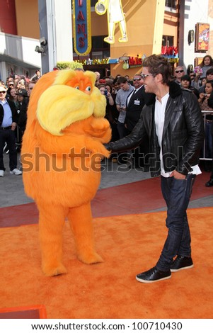 """Lorax and Zac Efron at the """"Dr. Seuss' The Lorax"""" Premiere, Universal Studios, Universal City, CA 02-19-12 - stock photo"""