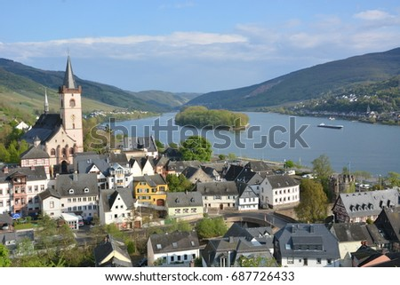 Lorch, Germany - April 17, 2017 - Typical german town with river rhine