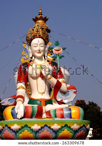 Lord Buddha Temple: Statue of Lord Buddha as depicted in Chinese/Tibetan culture with the Mindrolling monastery in the scenic background with its lush green environment known for its heritage  - stock photo