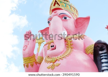 Lord Ganesh pink background is blue sky.  - stock photo