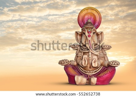 Lord Ganesh with beautiful sky background