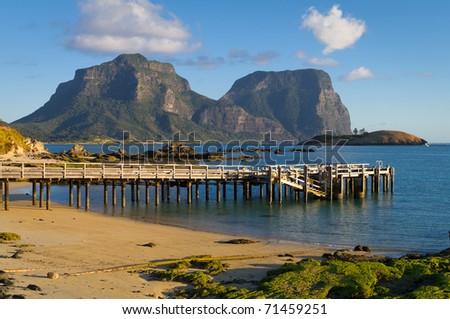 Lord Howe Island Lagoon and Jetty - stock photo