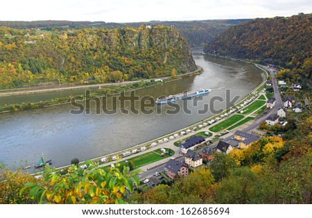Loreley Rock at the Rhine River in Germany - stock photo