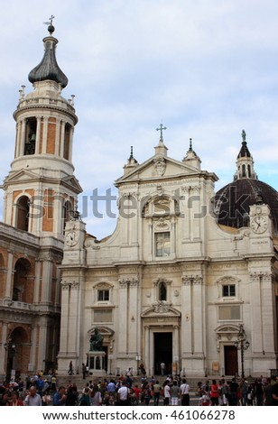 LORETO, ITALY - JULY 13: The Shrine of Loreto crowded of tourists on July 13, 2014 in Loreto, Italy