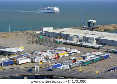 Lorries & trucks queuing for cross channel ferries at Dover - stock photo