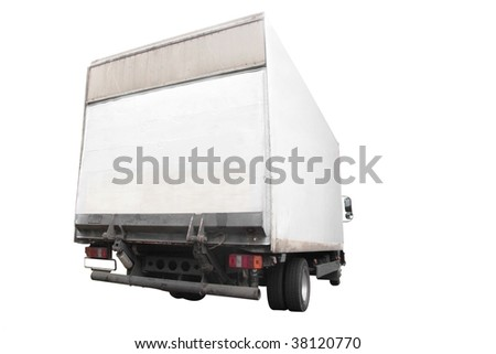 lorry under the white background - stock photo
