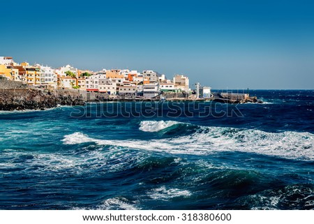 Los Abrigos, small fishing village in Granadilla de Abona, Tenerife. Canary Islands, Spain - stock photo