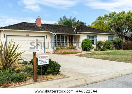 Los Altos, California, USA - September 29, 2015: Famous house with garage where Steve Jobs and Steve Wozniak assembled their first computer the Apple I in 1976.