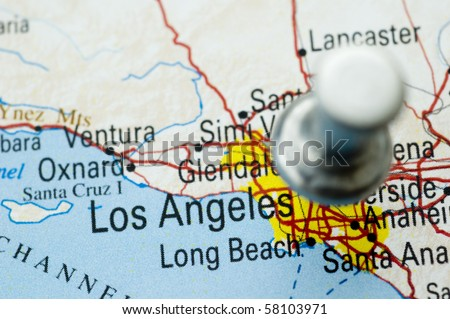 Los Angeles And Push Pin Map Is Copyright Free Off A Government Website