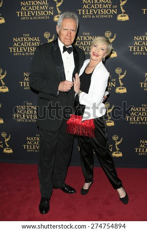 LOS ANGELES - APR 24: Alex Trebek, Florence Henderson at The 42nd Daytime Creative Arts Emmy Awards Gala at the Universal Hilton Hotel on April 24, 2015 in Los Angeles, California - stock photo