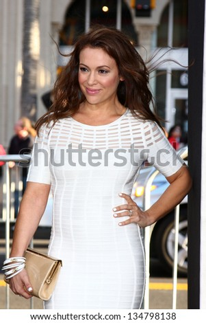 "LOS ANGELES - APR 9:  Alyssa Milano arrives at the ""42"" Premiere at the Chinese Theater on April 9, 2013 in Los Angeles, CA"