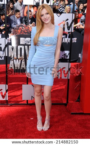 LOS ANGELES - APR 13:  Bella Thorne arrives to the 2014 MTV Movie Awards  on April 13, 2014 in Los Angeles, CA.                 - stock photo