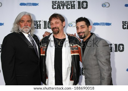 "LOS ANGELES - APR 22:  Bill Wichrowski, Johnathan Hillstrand, Josh Harris at the ""Deadliest Catch"" Season 10 Premiere Screening at ArcLight Hollywood Theaters on April 22, 2014 in Los Angeles, CA - stock photo"