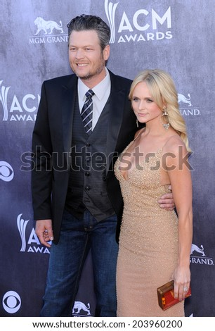 LOS ANGELES - APR 06:  Blake Shelton & Miranda Lambert arrives to the 49th Annual Academy of Country Music Awards   on April 06, 2014 in Las Vegas, NV.                 - stock photo