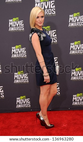 LOS ANGELES - APR 14:  Brittany Snow arrives to the Mtv Movie Awards 2013  on April 14, 2013 in Culver City, CA. - stock photo