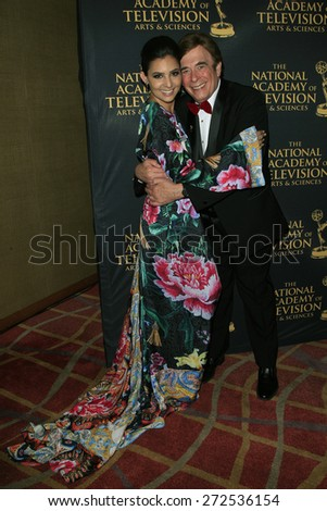LOS ANGELES - APR 24: Camila Banus, David Michaels at The 42nd Daytime Creative Arts Emmy Awards Gala at the Universal Hilton Hotel on April 24, 2015 in Los Angeles, California - stock photo