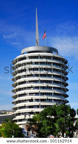 LOS ANGELES - APR 25: Capitol Records Tower on Apr 25, 2012 in LA. Capitol Records is a major US based record label, formerly located in LA. Its former headquarters is a major landmark in LA. - stock photo