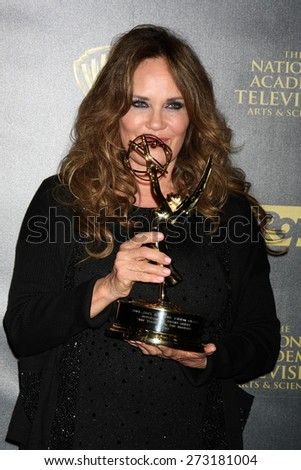 LOS ANGELES - APR 26:  Catherine Bach at the 2015 Daytime Emmy Awards at the Warner Brothers Studio Lot on April 26, 2015 in Los Angeles, CA - stock photo