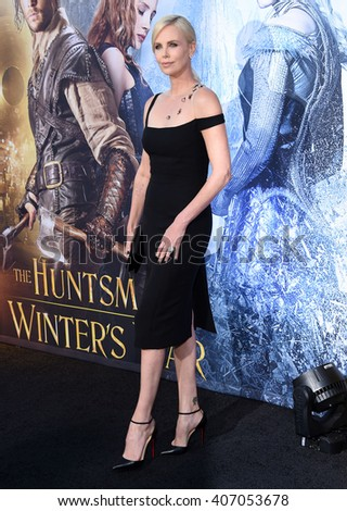 "LOS ANGELES - APR 11:  Charlize Theron arrives to the ""The Huntsman: Winter's War"" LA Premiere  on April 11, 2016 in Los Angeles, CA.                 - stock photo"