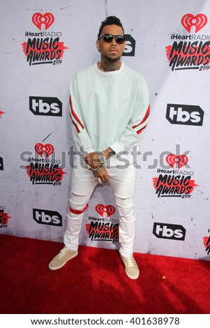 LOS ANGELES - APR 3:  Chris Brown at the iHeart Radio Music Awards 2016 Arrivals at the The Forum on April 3, 2016 in Inglewood, CA - stock photo