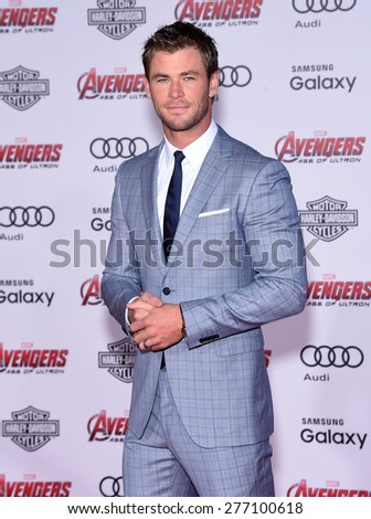 "LOS ANGELES - APR 14:  Chris Hemsworth arrives to the Marvel's ""Avengers: Age of Ultron"" World Premiere  on April 14, 2015 in Hollywood, CA                 - stock photo"
