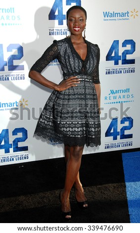 LOS ANGELES - APR 9 - Danai Gurira arrives at the 42 Los Angeles Premiere on April 9,  2013 in Los Angeles, CA              - stock photo