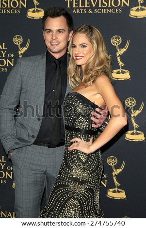 LOS ANGELES - APR 24: Darin Brooks, Kelly Kruger at The 42nd Daytime Creative Arts Emmy Awards Gala at the Universal Hilton Hotel on April 24, 2015 in Los Angeles, California - stock photo