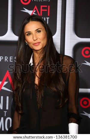 LOS ANGELES - APR 24:  Demi Moore arrives at the AFI Night at the Movies 2013 at the ArcLight Hollywood Theaters on April 24, 2013 in Los Angeles, CA - stock photo