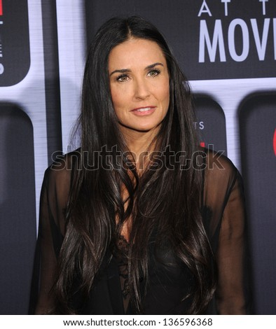 LOS ANGELES - APR 24:  Demi Moore arrives to the AFI Night At The Movies 2013  on April 24, 2013 in Hollywood, CA - stock photo