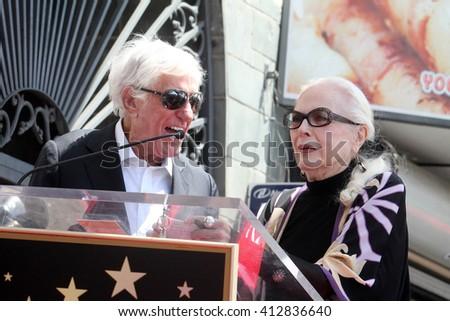 LOS ANGELES - APR 28:  Dick Van Dyke, Barbara Bain at the Bairbara Bain Hollywood Walk of Fame Star Ceremony at the Hollywood Walk of Fame on April 28, 2016 in Los Angeles, CA - stock photo