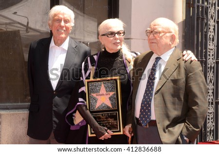 LOS ANGELES - APR 28:  Dick Van Dyke, Barbara Bain, Ed Asner at the Bairbara Bain Hollywood Walk of Fame Star Ceremony at the Hollywood Walk of Fame on April 28, 2016 in Los Angeles, CA - stock photo
