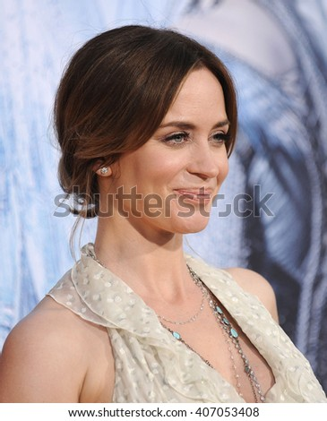 """LOS ANGELES - APR 11:  Emily Blunt arrives to the """"The Huntsman: Winter's War"""" LA Premiere  on April 11, 2016 in Los Angeles, CA.                 - stock photo"""
