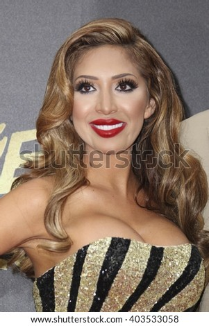 LOS ANGELES - APR 9:  Farrah Abraham at the 2016 MTV Movie Awards Arrivals at the Warner Brothers Studio on April 9, 2016 in Burbank, CA - stock photo