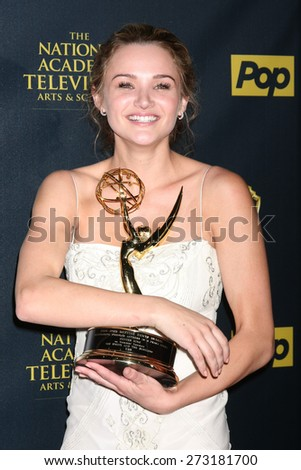 LOS ANGELES - APR 26:  Hunter King at the 2015 Daytime Emmy Awards at the Warner Brothers Studio Lot on April 26, 2015 in Los Angeles, CA - stock photo