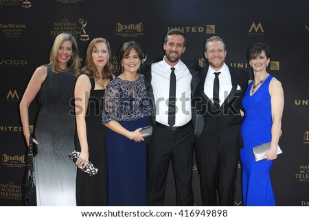 LOS ANGELES - APR 29: Jack Steward, Colton Smith, Colleen Needles Steward, Jane E. Durkee, Shannon Keenan Demers, Heidi Ruen - 43rd Daytime Creative Arts Emmy Awards, April 29, 2016 in Los Angeles, CA - stock photo