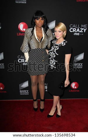 """LOS ANGELES - APR 16:  Jennifer Hudson, Brittany Snow arrives at the """"Call Me Crazy: A Five Film"""" Premiere at the Pacific Design Center on April 16, 2013 in West Hollywood, CA - stock photo"""