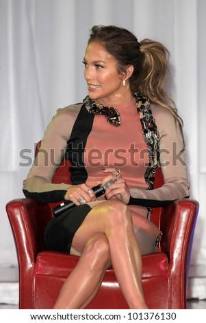 LOS ANGELES - APR 30:  Jennifer Lopez at a press conference for Yandel, Jennifer Lopez and Enrique Iglesias to announce their Summer Tour at Boulevard3 on April 30, 2012 in Los Angeles, CA - stock photo