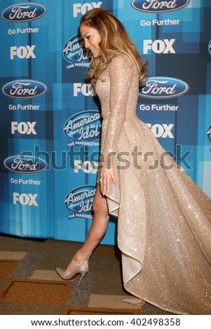 LOS ANGELES - APR 7:  Jennifer Lopez at the American Idol FINALE Arrivals at the Dolby Theater on April 7, 2016 in Los Angeles, CA - stock photo